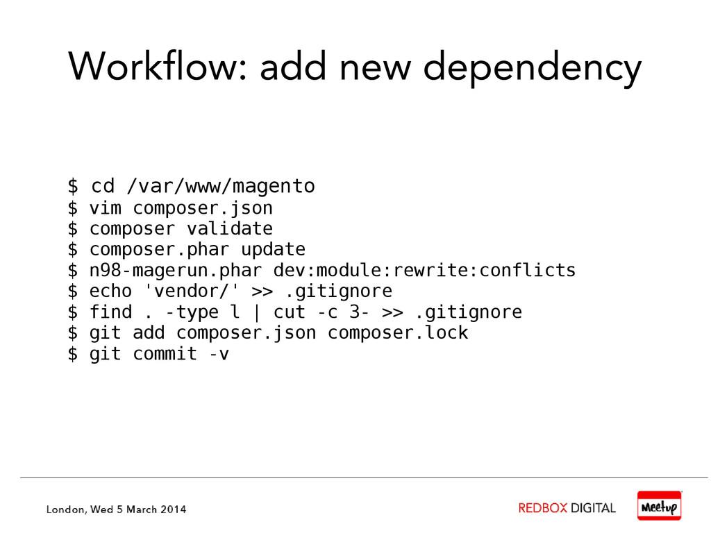 Workflow: add new dependency $ cd /var/www/mage...