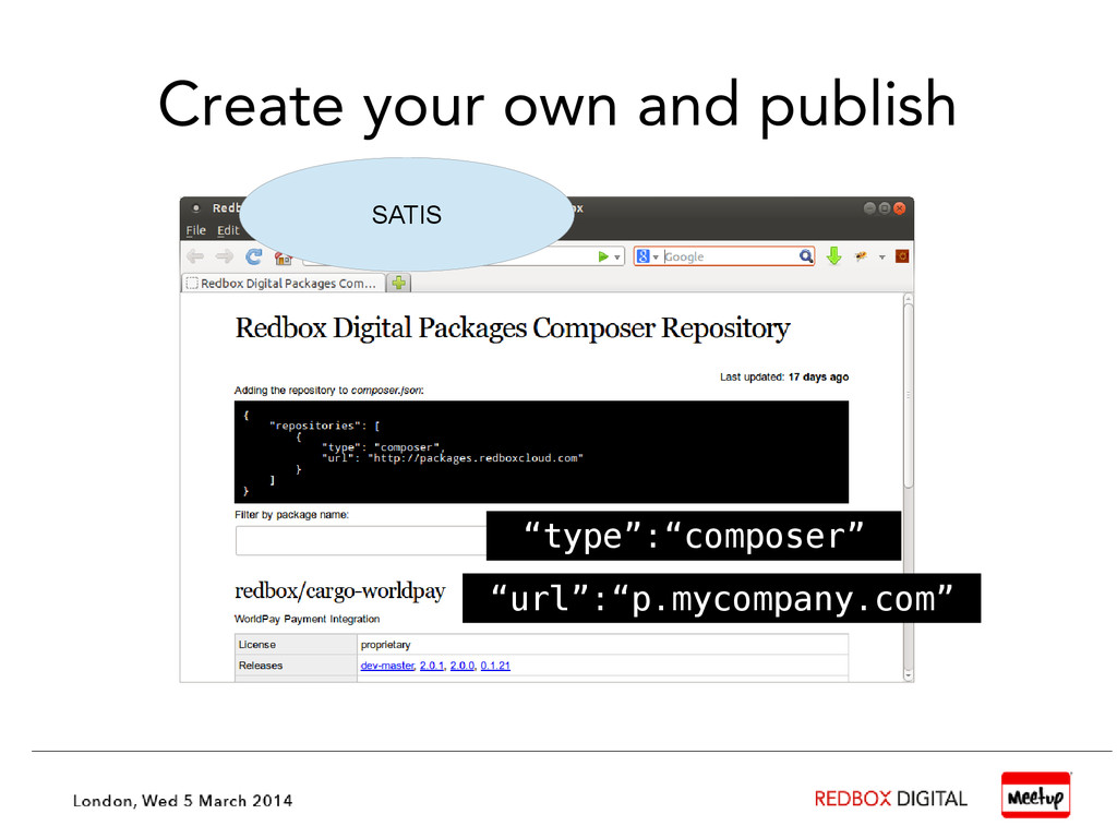 """Create your own and publish SATIS """"type"""":""""compo..."""