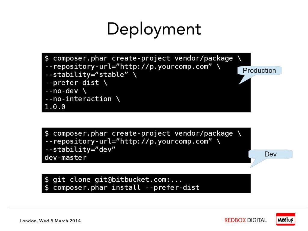 Deployment $ git clone git@bitbucket.com:... $ ...