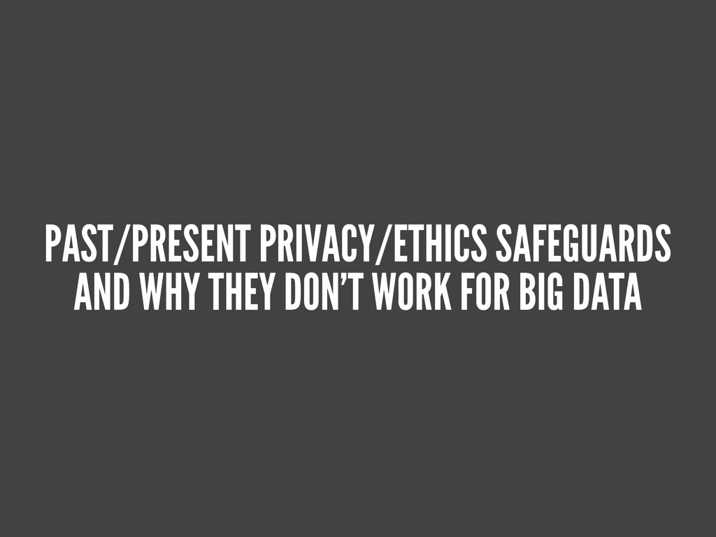 PAST/PRESENT PRIVACY/ETHICS SAFEGUARDS AND WHY ...