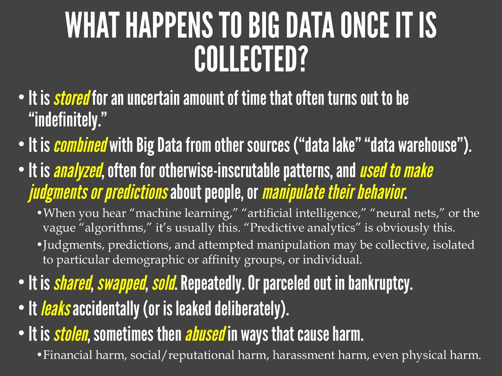 WHAT HAPPENS TO BIG DATA ONCE IT IS COLLECTED? ...