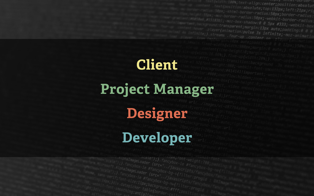 Client Project Manager Designer Developer