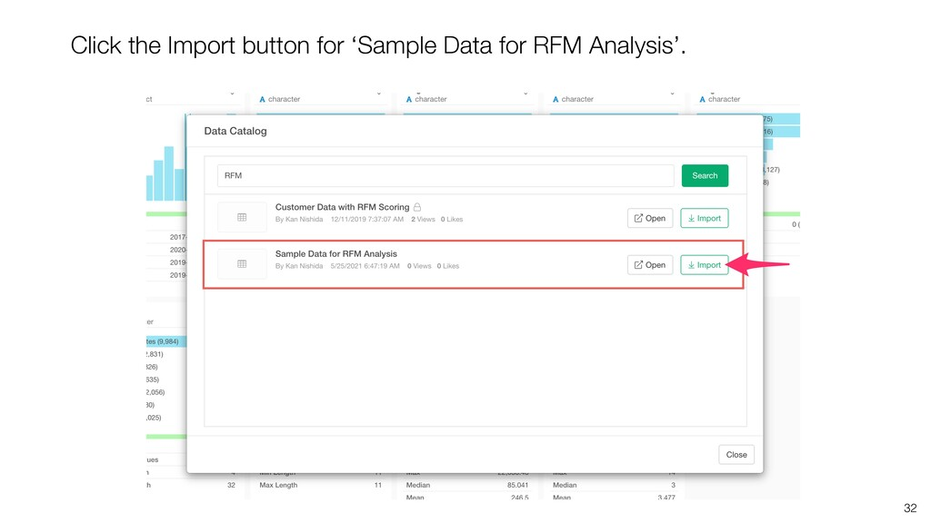 32 Click the Import button for 'Sample Data for...