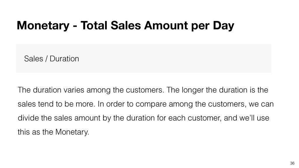 36 Sales / Duration The duration varies among t...