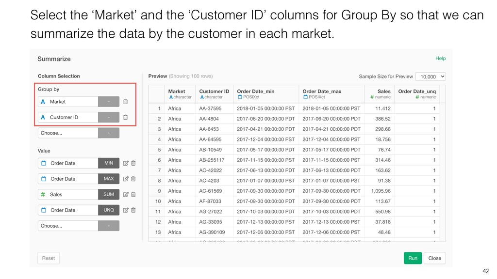 42 Select the 'Market' and the 'Customer ID' co...