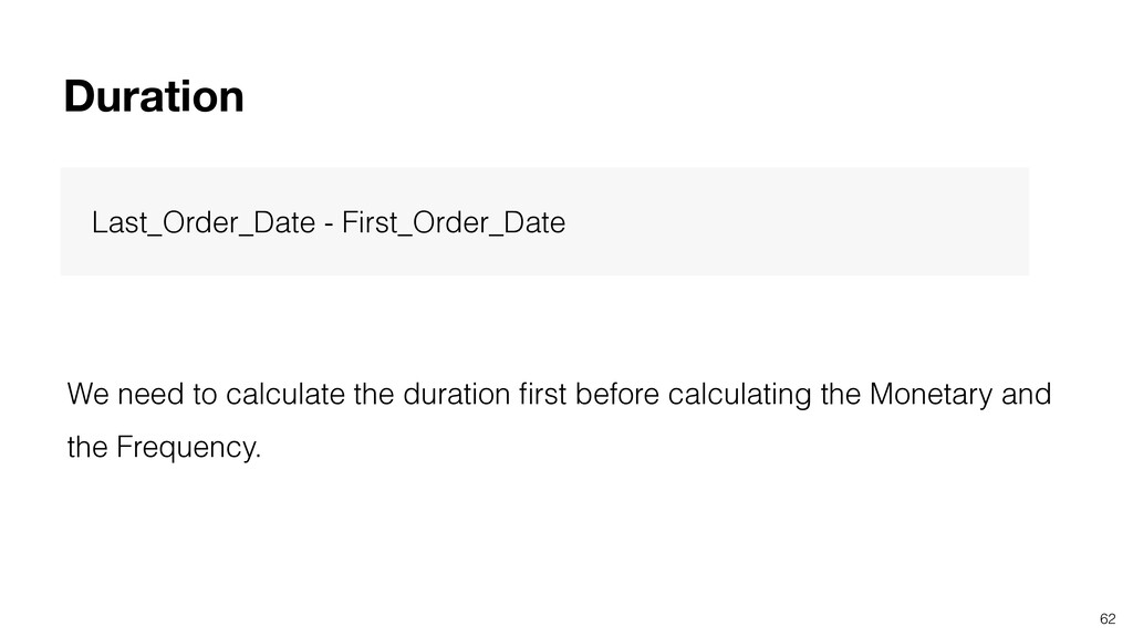 62 Duration Last_Order_Date - First_Order_Date ...