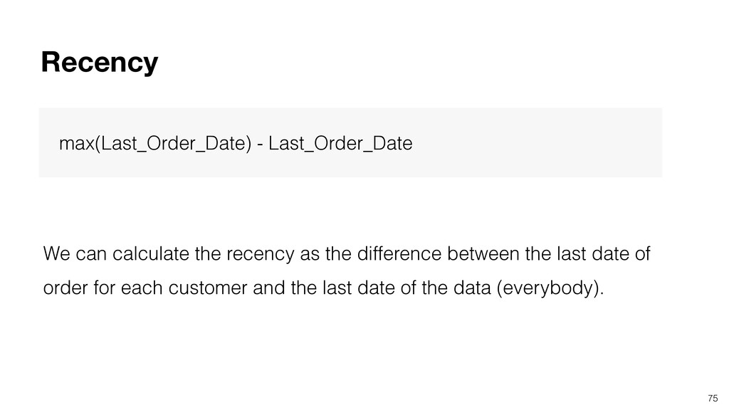 75 Recency max(Last_Order_Date) - Last_Order_Da...