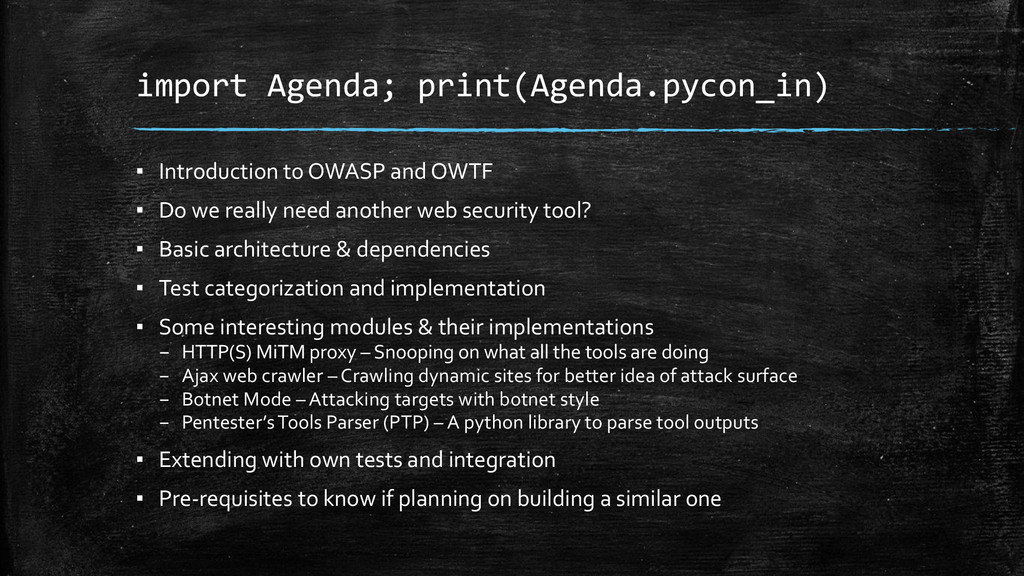 import Agenda; print(Agenda.pycon_in) ▪ Introdu...