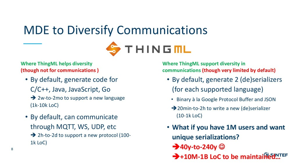 Where ThingML helps diversity (though not for c...