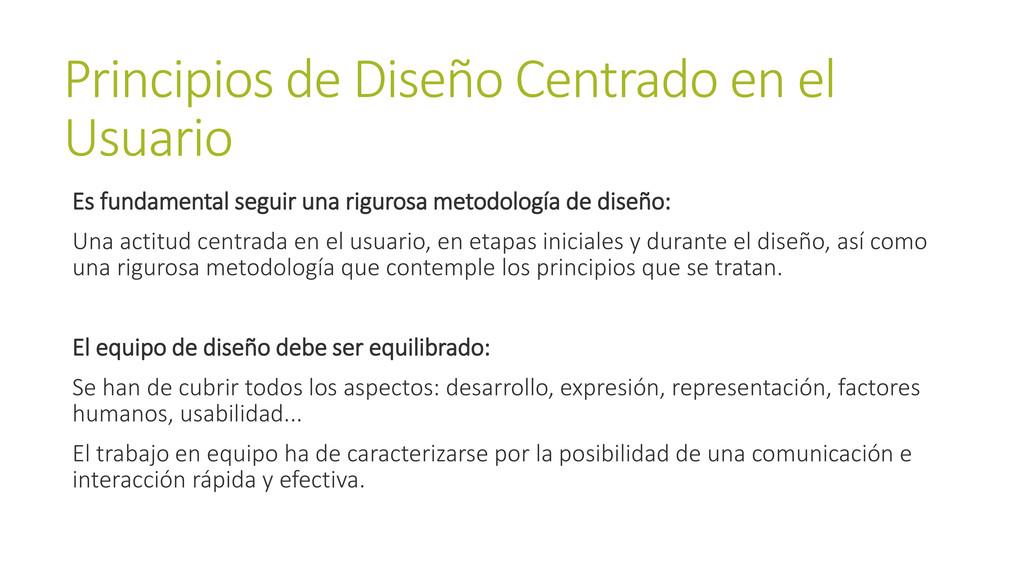 Principios de Diseño Centrado en el Usuario Es ...