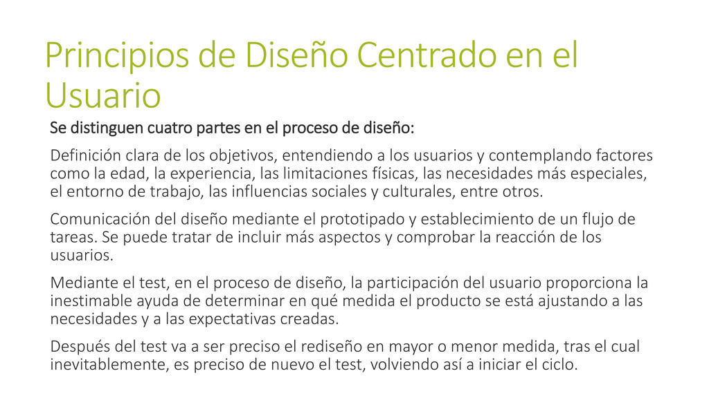 Principios de Diseño Centrado en el Usuario Se ...