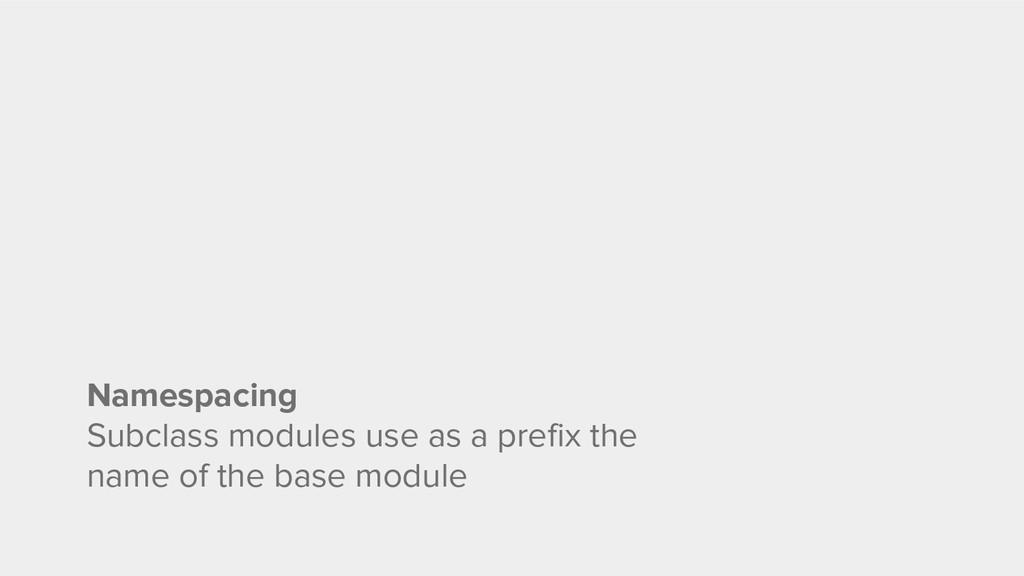 Namespacing Subclass modules use as a prefix th...