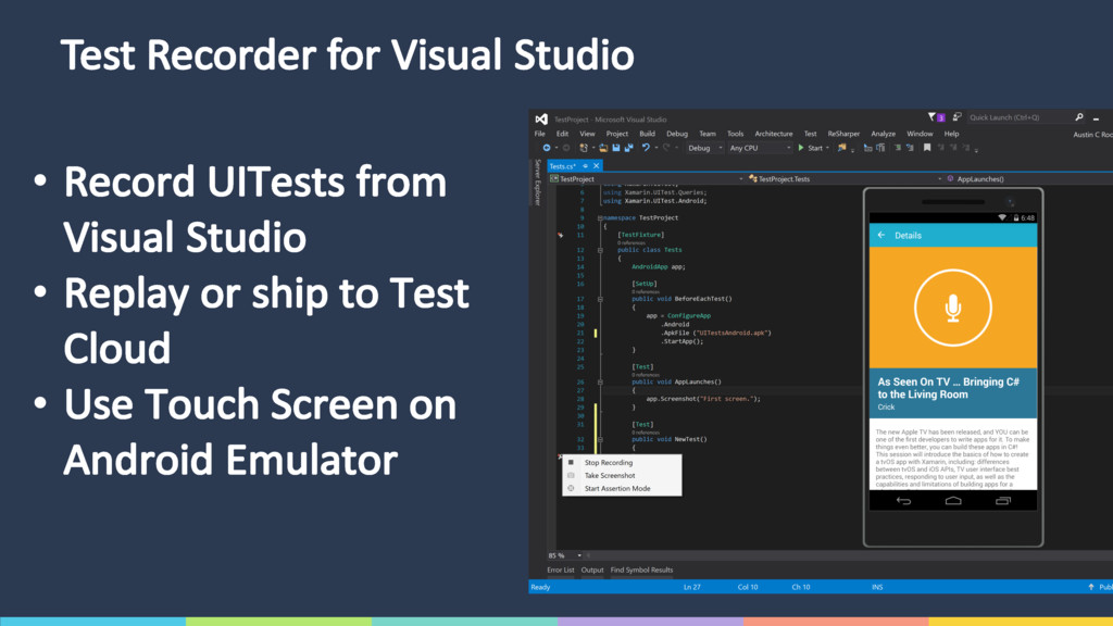 Test Recorder for Visual Studio • Record UITest...