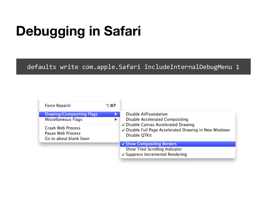 Debugging in Safari defaults write com.apple.Sa...