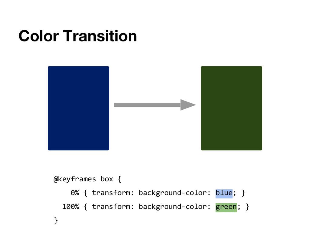 Color Transition @keyframes box { 0% { transfor...