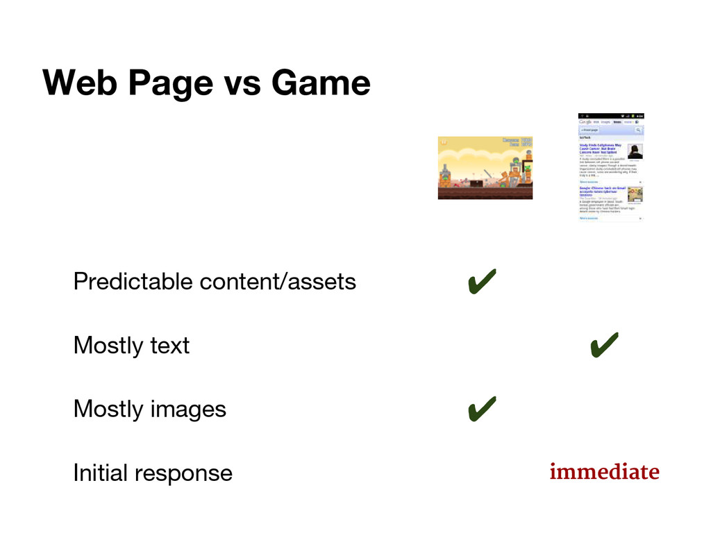 Web Page vs Game Predictable content/assets ✔ M...