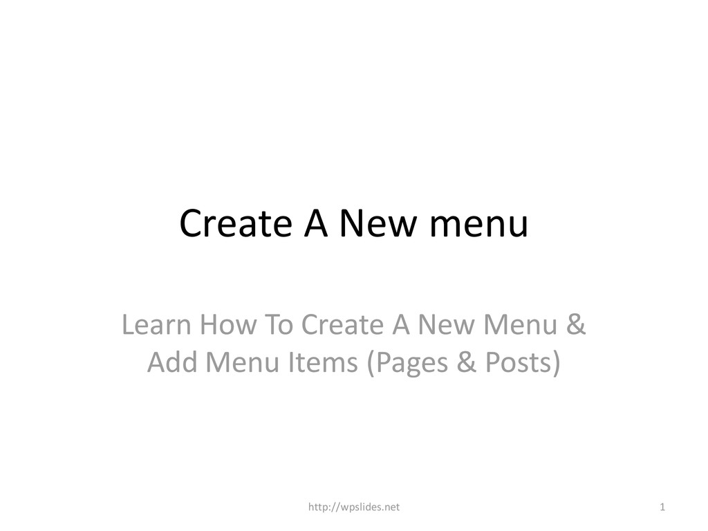 Create A New menu Learn How To Create A New Men...