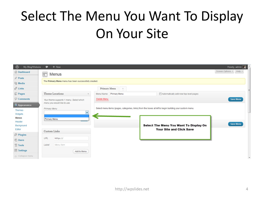 Select The Menu You Want To Display On Your Sit...