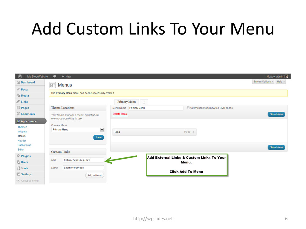 Add Custom Links To Your Menu 6 http://wpslides...
