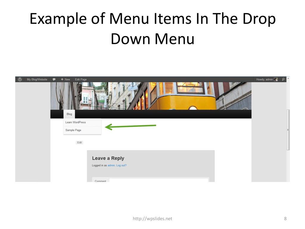 Example of Menu Items In The Drop Down Menu 8 h...