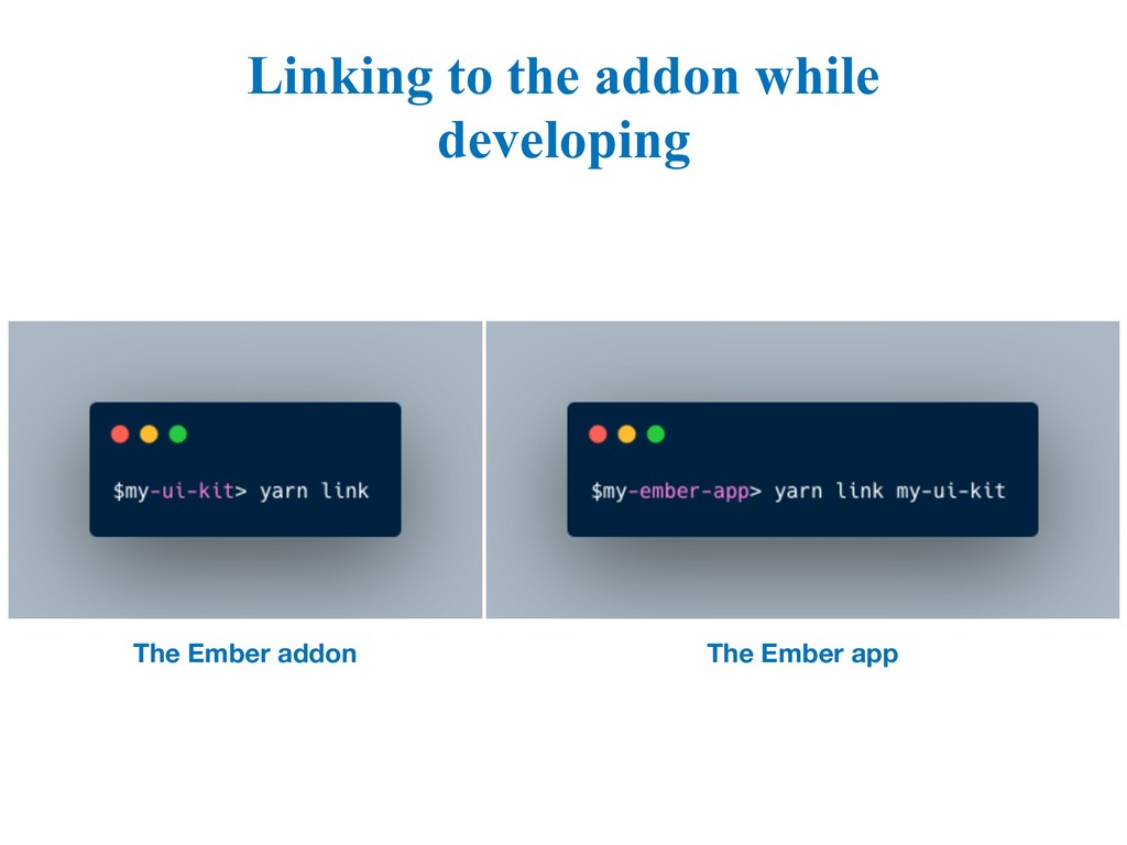 Linking to the addon while developing The Ember...