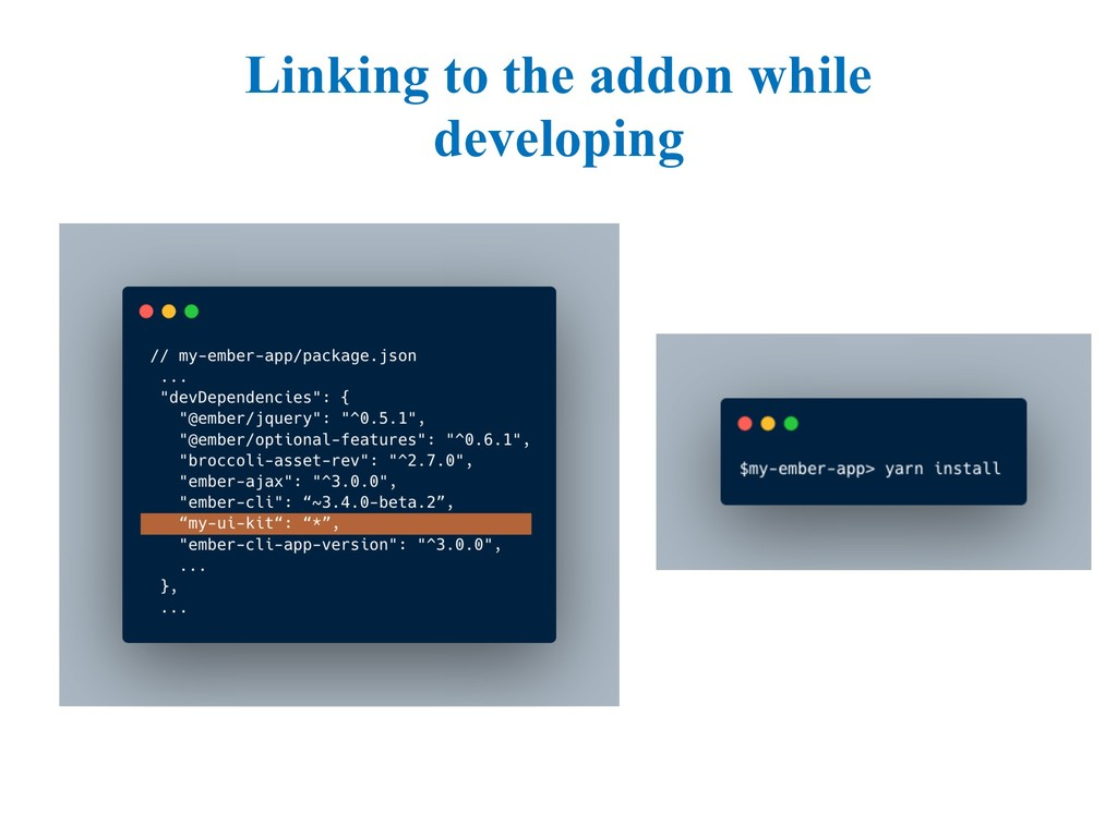 Linking to the addon while developing
