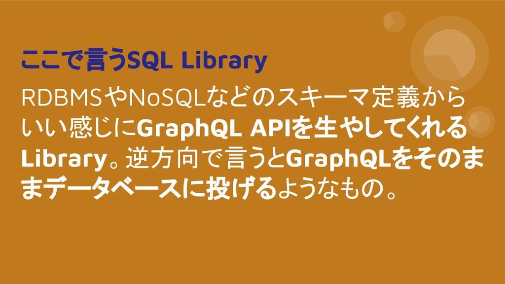 ここで言うSQL Library RDBMSやNoSQLなどのスキーマ定義から いい感じにGr...