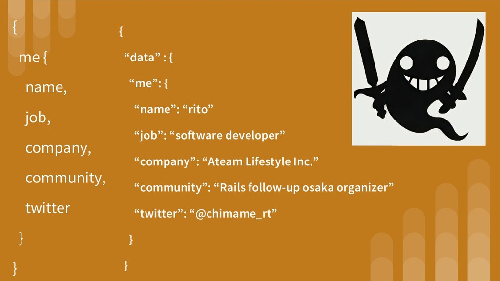 { me { name, job, company, community, twitter }...