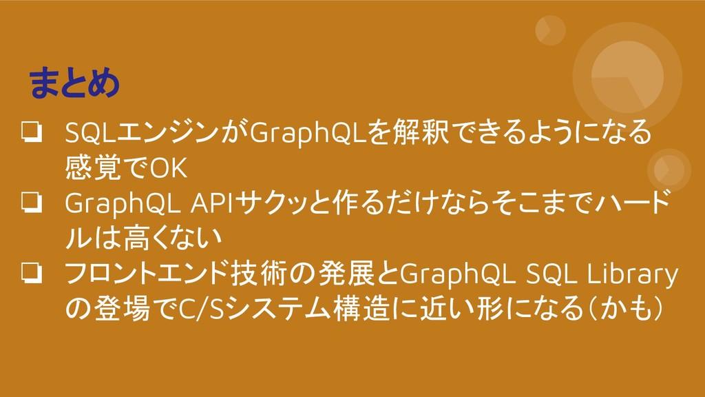 まとめ ❏ SQLエンジンがGraphQLを解釈できるようになる 感覚でOK ❏ GraphQ...