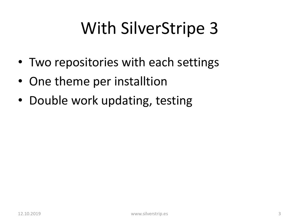With SilverStripe 3 • Two repositories with eac...