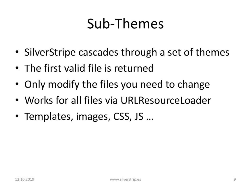 Sub-Themes • SilverStripe cascades through a se...