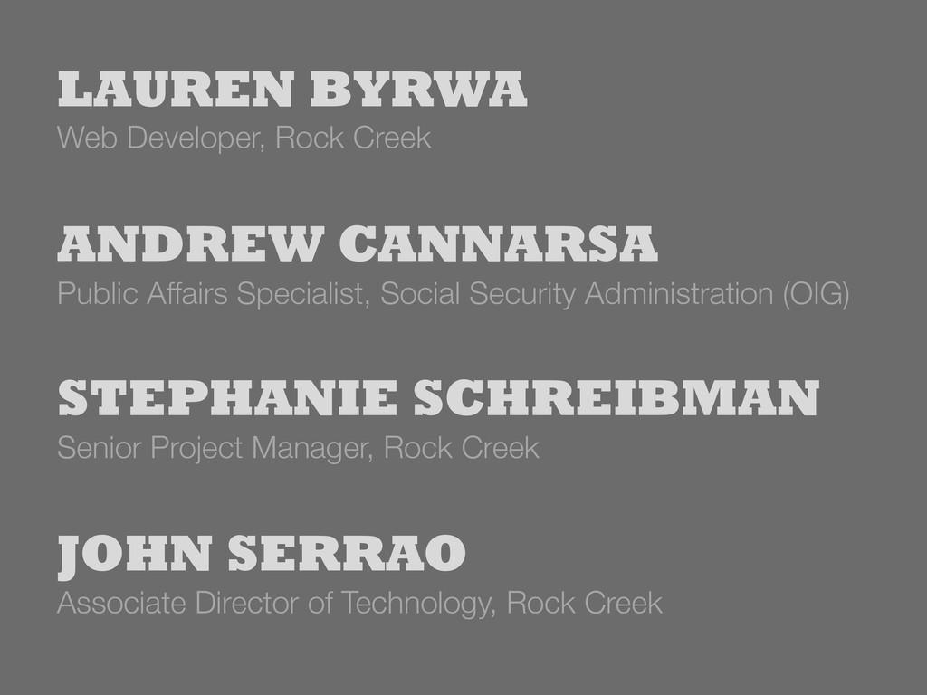 Associate Director of Technology, Rock Creek J...