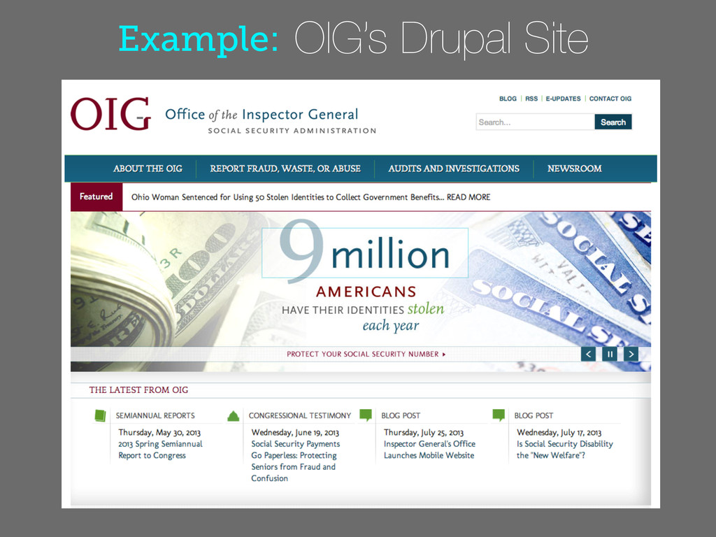 Example: OIG's Drupal Site