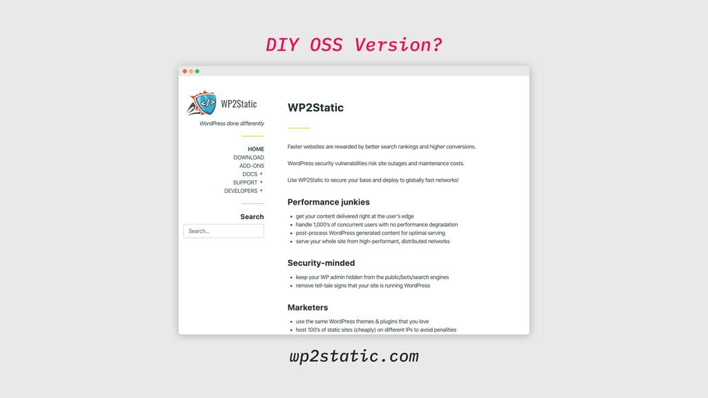 DIY OSS Version? wp2static.com