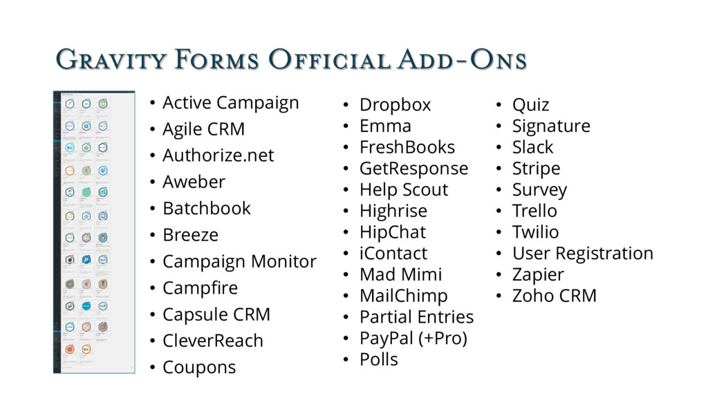 Gravity Forms Official Add-Ons • Active Campaig...