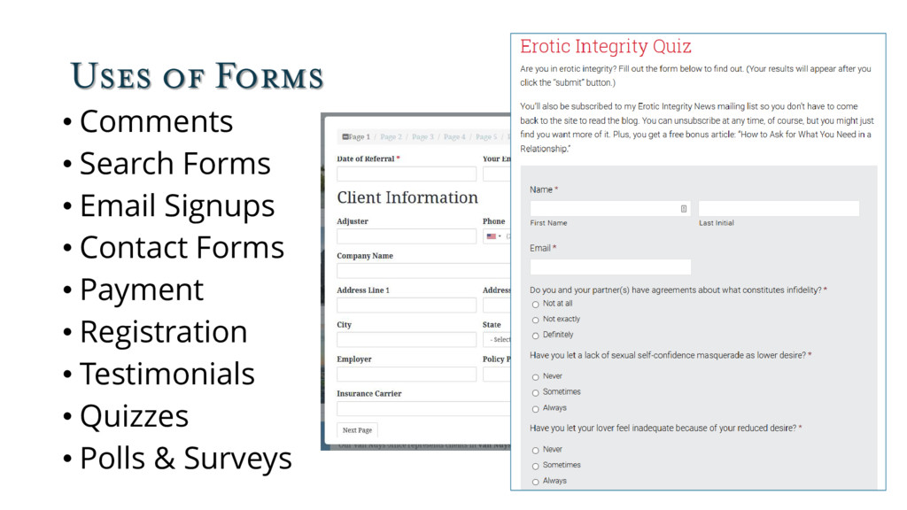 Uses of Forms • Comments • Search Forms • Email...