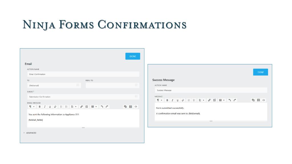 Ninja Forms Confirmations
