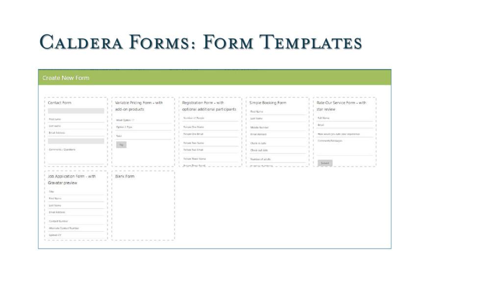 Caldera Forms: Form Templates