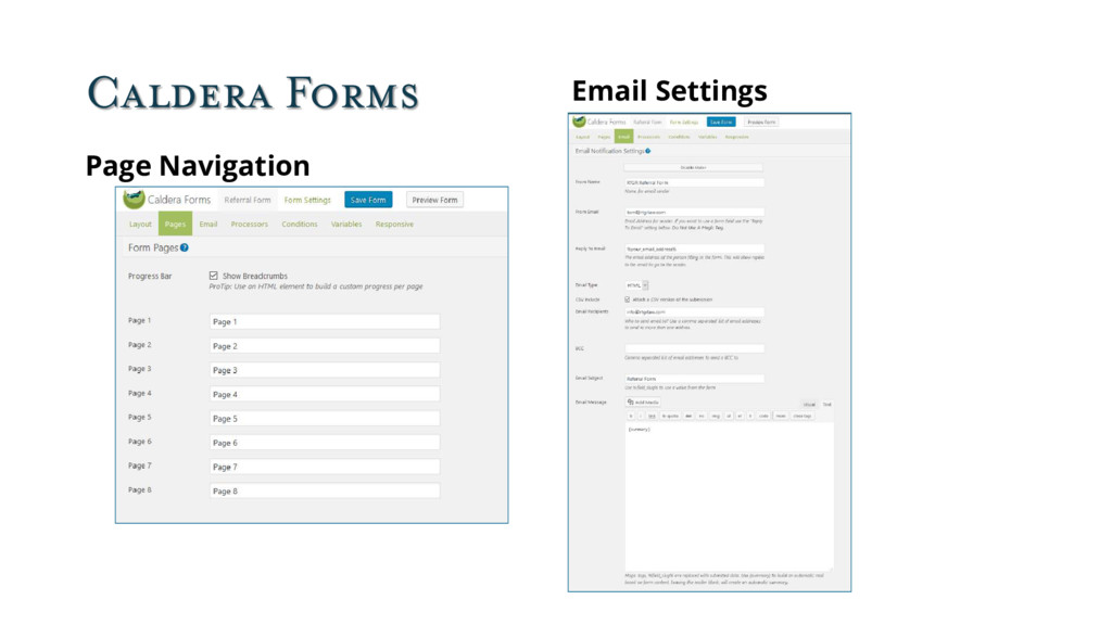 Caldera Forms Page Navigation Email Settings