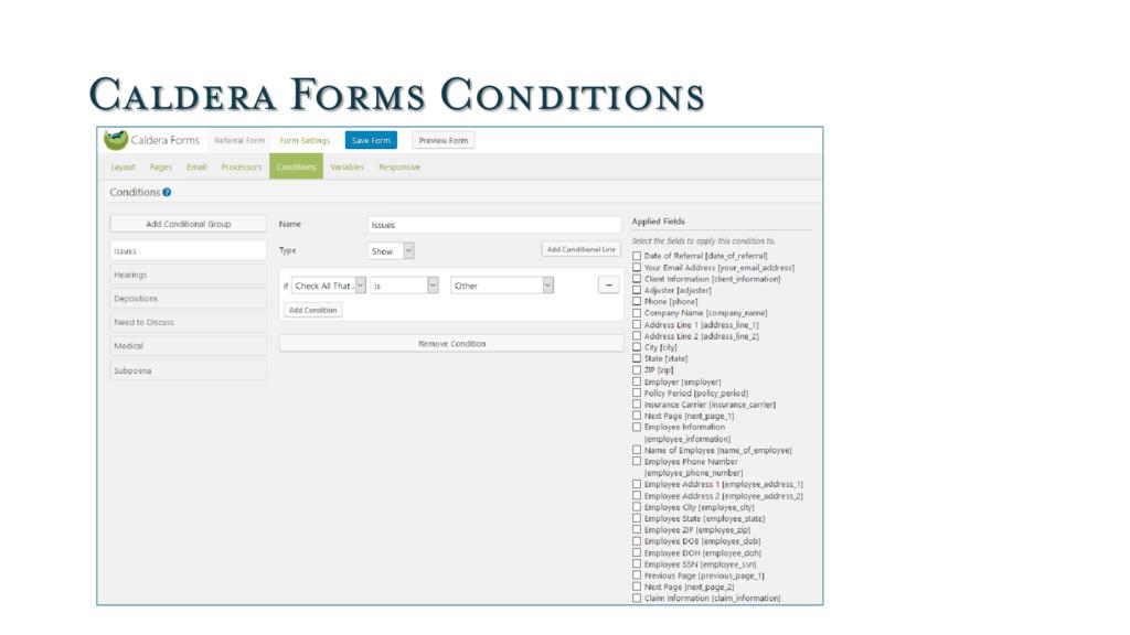 Caldera Forms Conditions