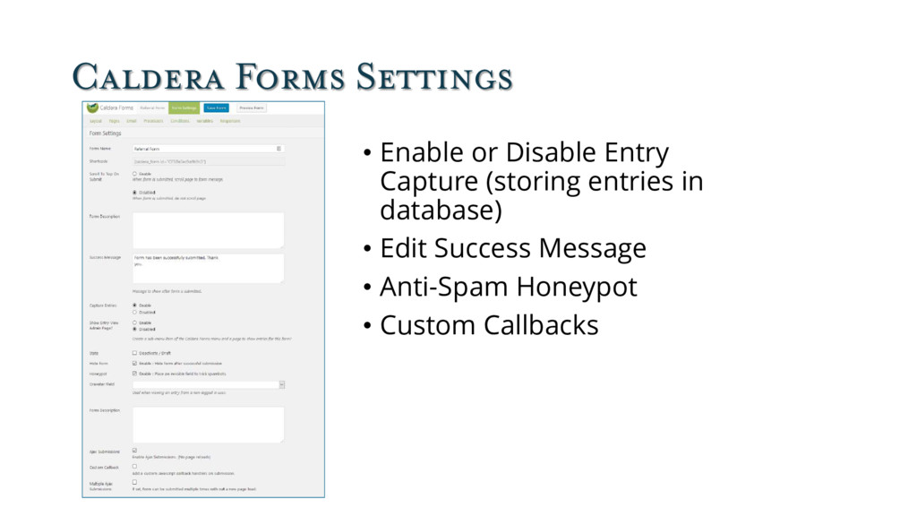 Caldera Forms Settings • Enable or Disable Entr...