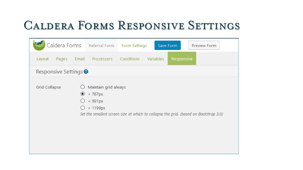 Caldera Forms Responsive Settings