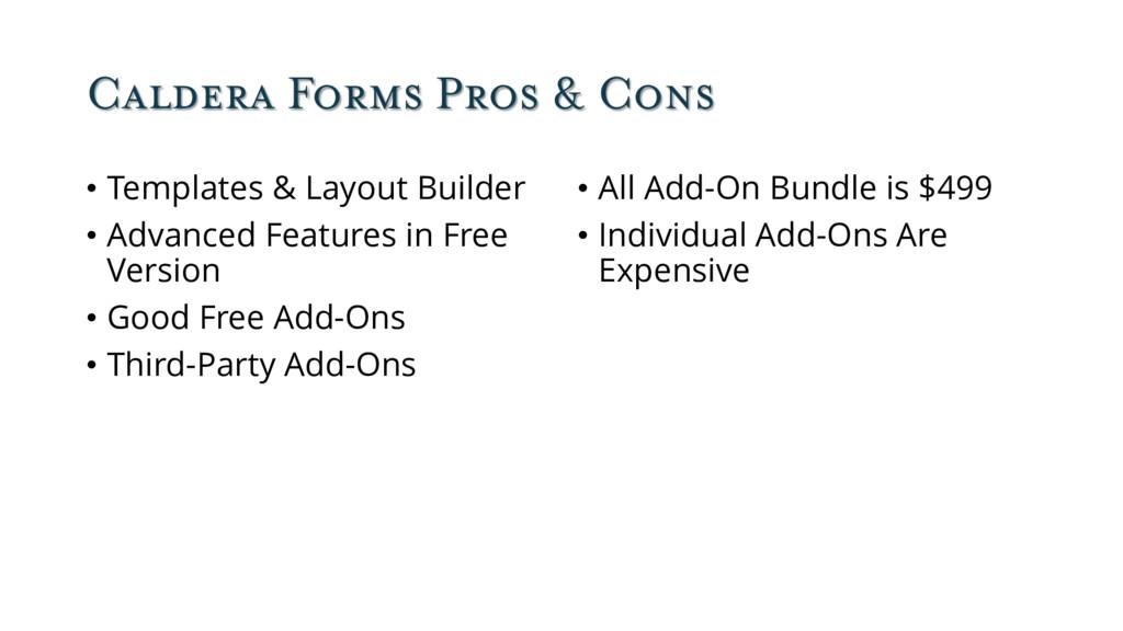 Caldera Forms Pros & Cons • Templates & Layout ...