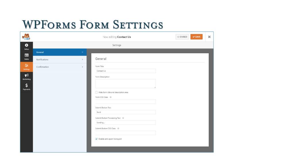 WPForms Form Settings