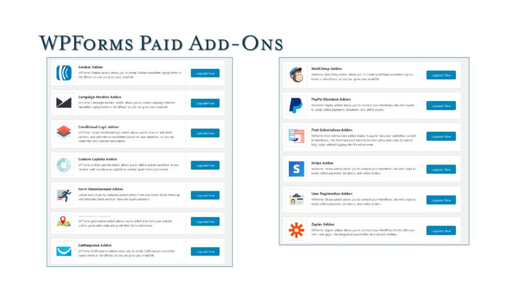 WPForms Paid Add-Ons