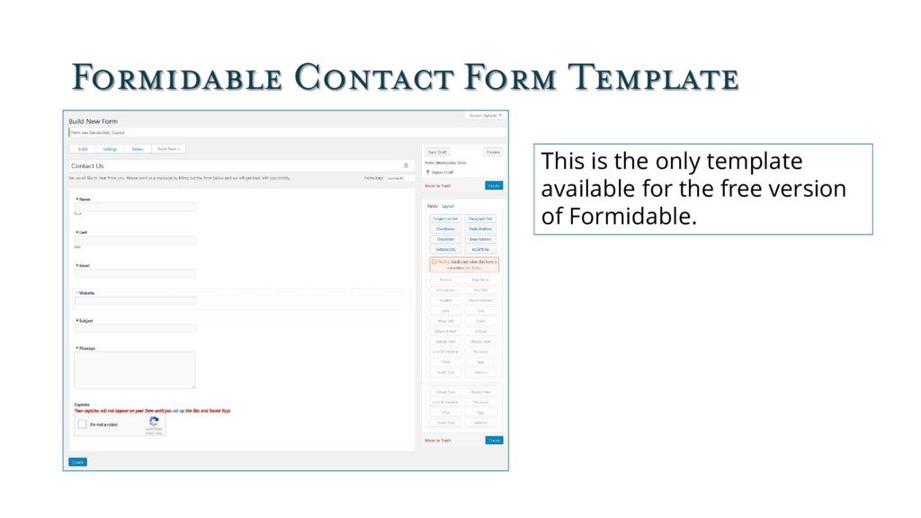 Formidable Contact Form Template This is the on...