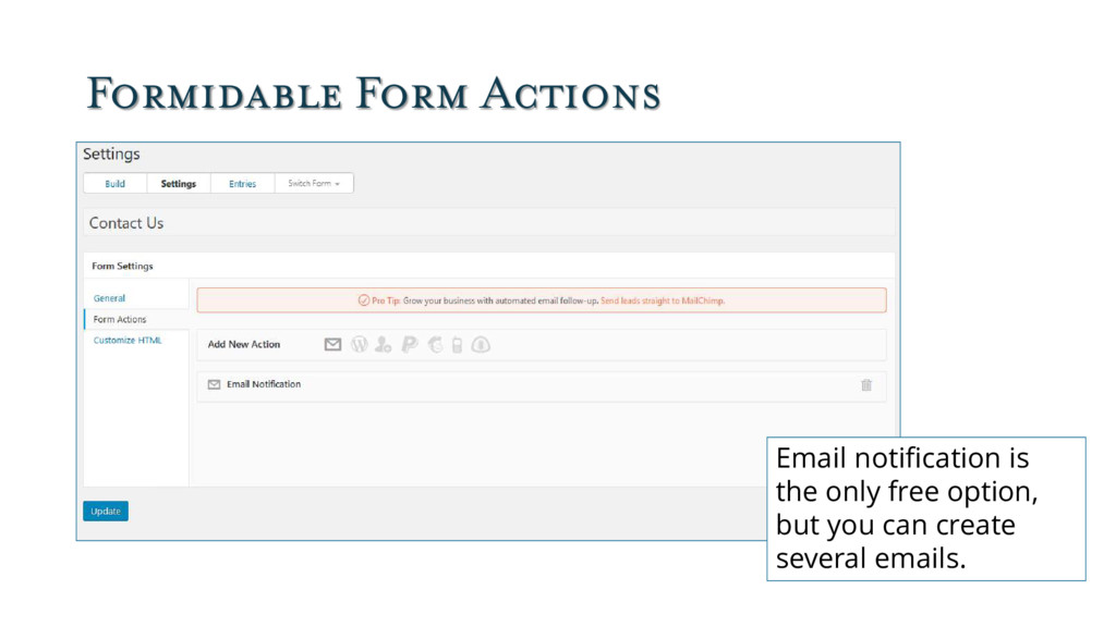 Formidable Form Actions Email notification is t...