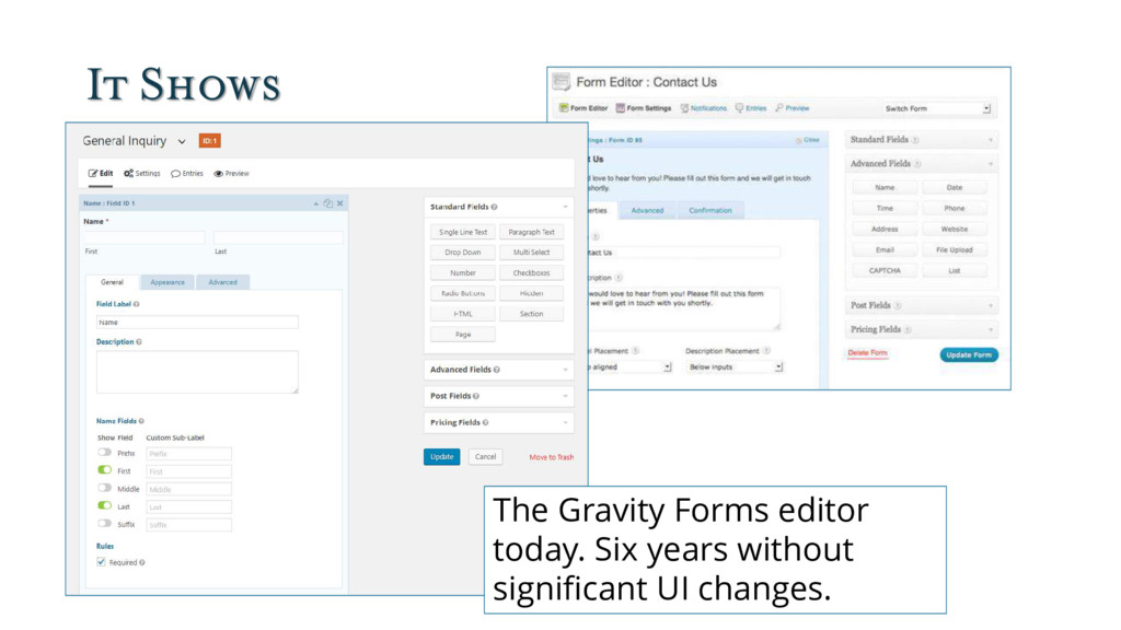 It Shows The Gravity Forms editor today. Six ye...