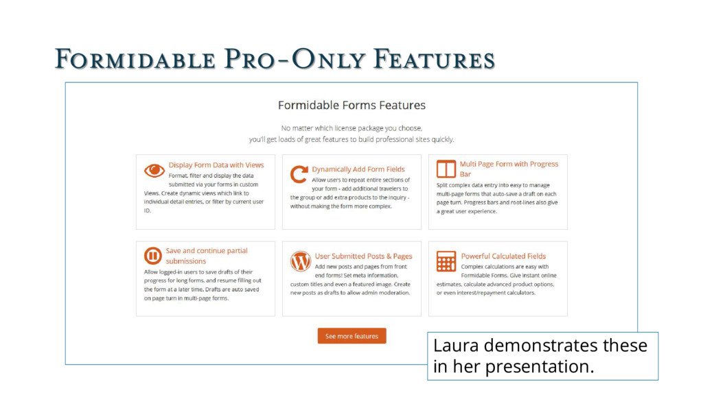 Formidable Pro-Only Features Laura demonstrates...