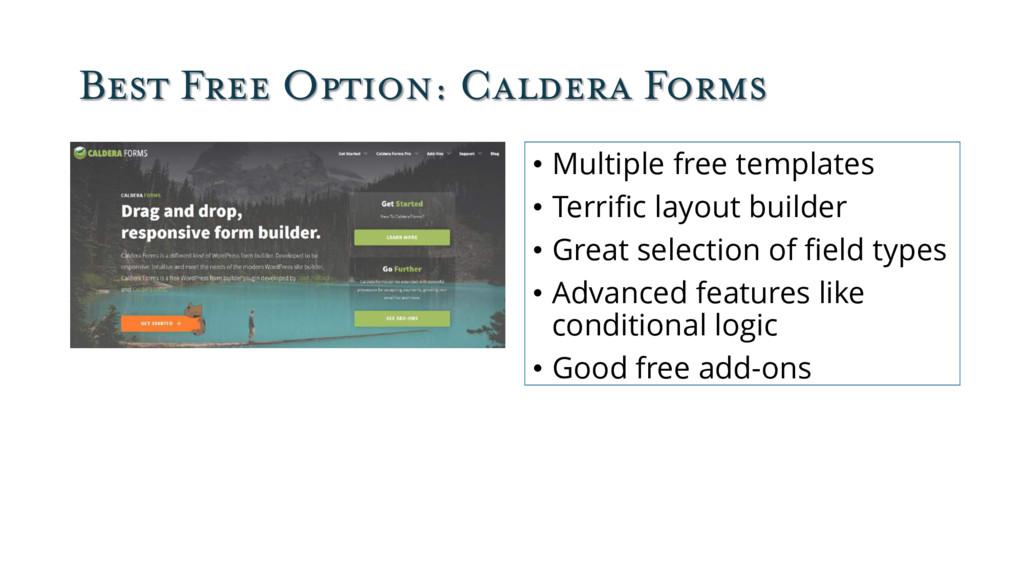Best Free Option: Caldera Forms • Multiple free...